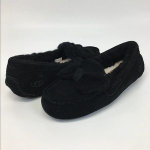 NIB UGG Ansley Fur Bow Black slippers Sz 8